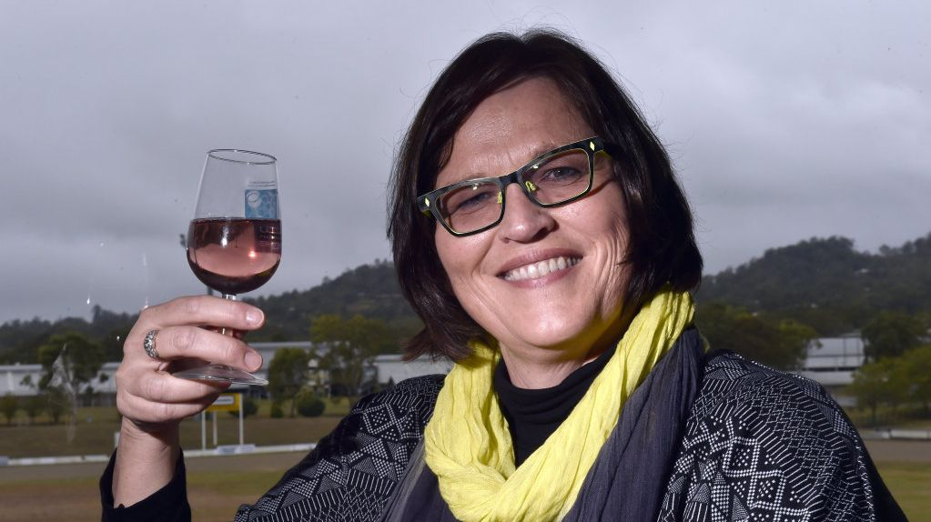Ros Seeney celebrating The Granite Belt Wine Company win at the 2016 wine Show at the Toowoomba Showgrounds.