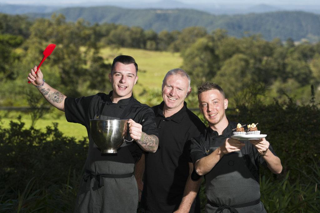 Owner Ed Bracey (centre) with chefs Scott Kimber (left) and Jordan Dwyer at Tallowoods Restaurant Ravensbourne, Friday, June 1, 2018.