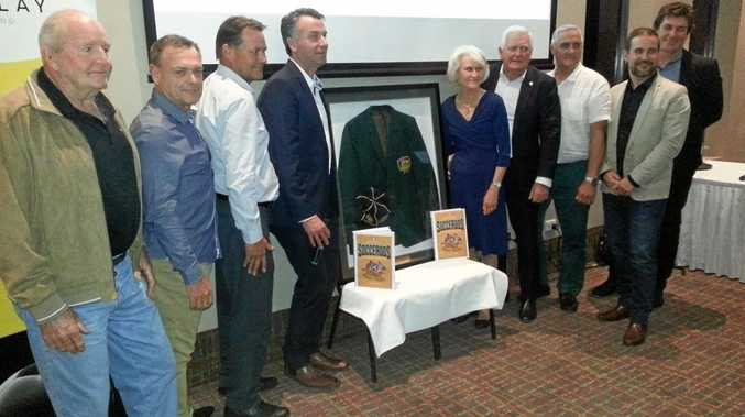 HISTORIC REUNION: Members of some famous Ipswich footballing families join with author Andrew Howe and Western Pride general manager Pat Boyle at the launch of the Encyclopedia of Socceroos.