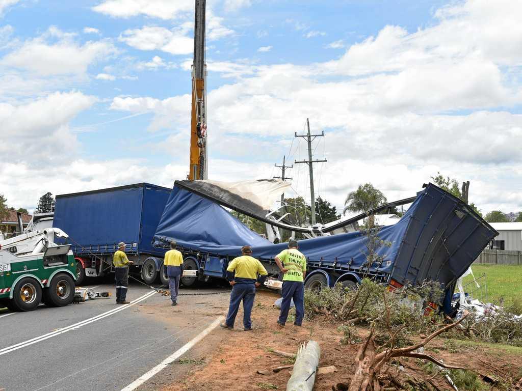 Truck crash on the Pacific Highway at Ulmarra, Saturday November 14, 2105. Photo: Adam Hourigan