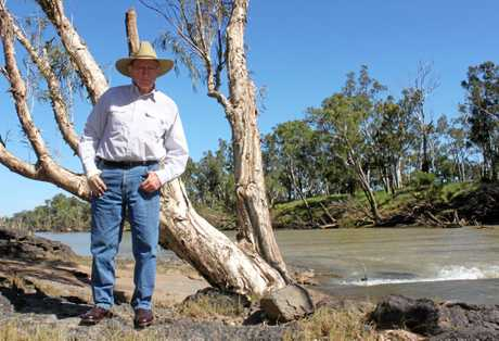 Sir Graham McCamley in 2018 by the river that runs through his property Tartrus.