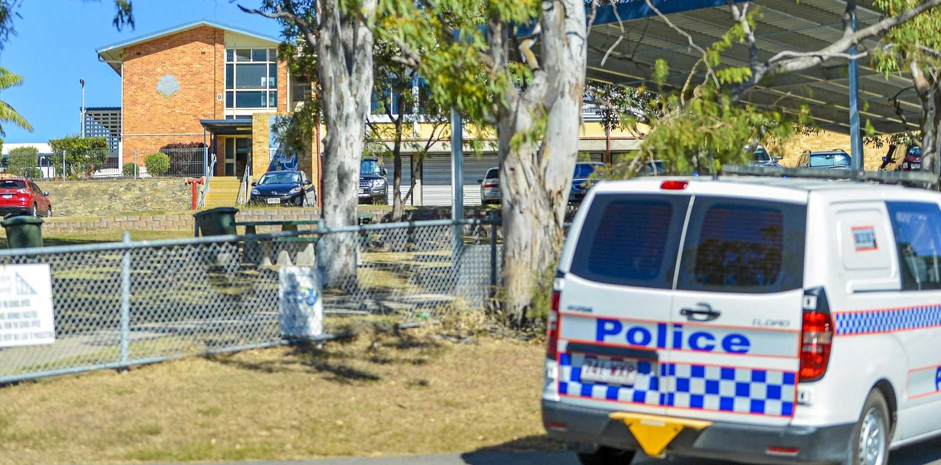 'SIMILAR SITUATION': Police attended Gladstone State High School yesterday in response to a suspected bomb threat.