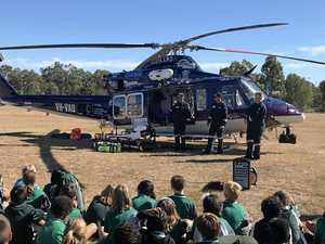 Chopper visits Rocky school to teach students road safety