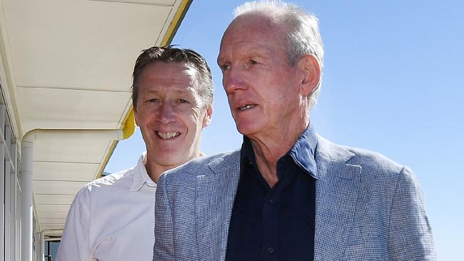 Youth look to old man Maloney Brisbane Broncos coach Wayne Bennett (right) and Melbourne Storm coach Craig Bellamy arrive at the NRL Sportsman's Lunch in Toowoomba, Queensland, Friday, June 1, 2018. (AAP Image/Dan Peled) NO ARCHIVING