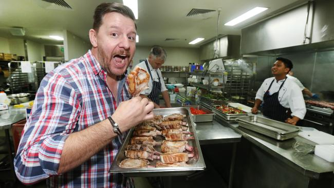 Celebrity chef Manu Feildel pictured Hamming it up at the Pan Pacific Pork Expo at the Gold Coast Convention and Exhibition Centre.Picture Mike Batterham