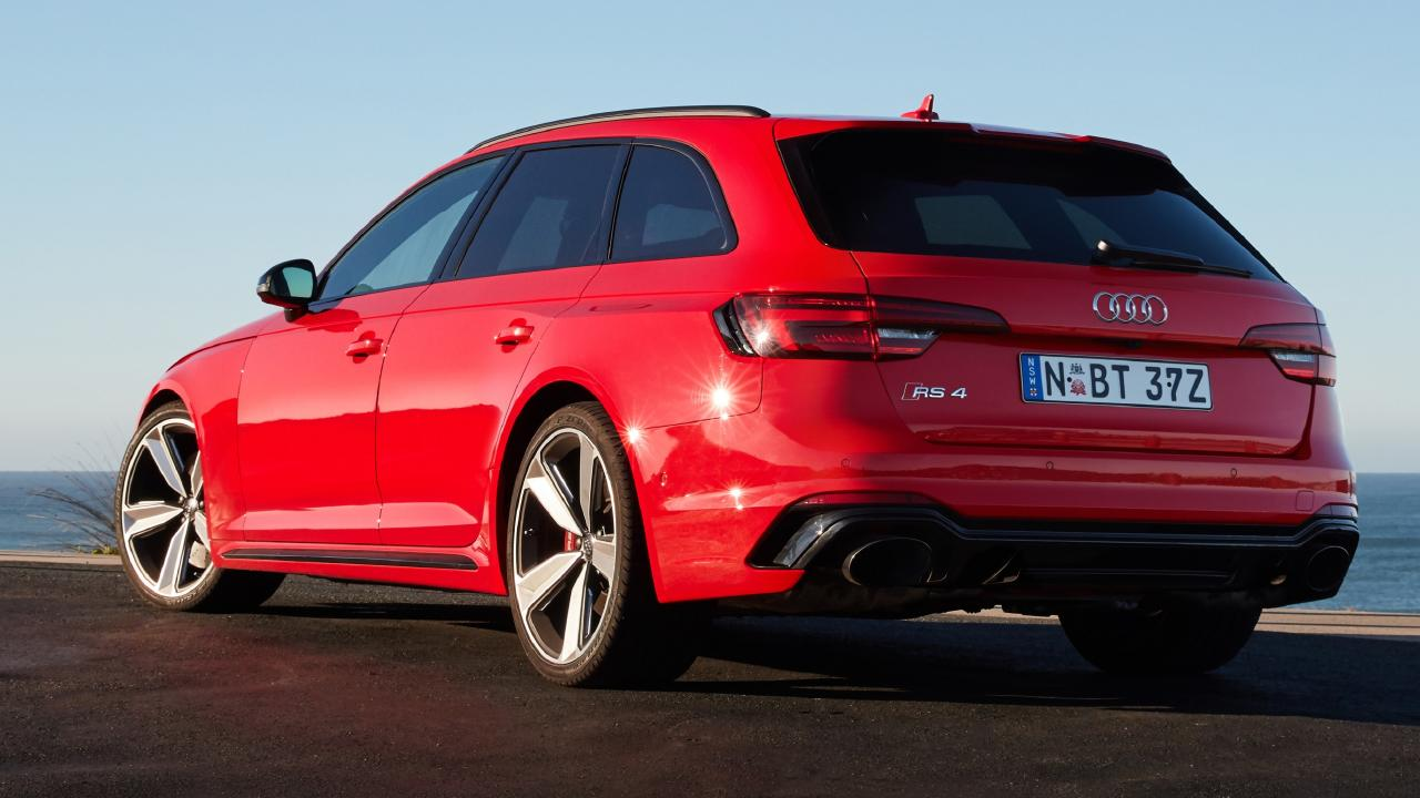 The Audi RS4's bulging fenders are 30mm wider each side compared to the standard A4 wagon. Picture: Supplied.