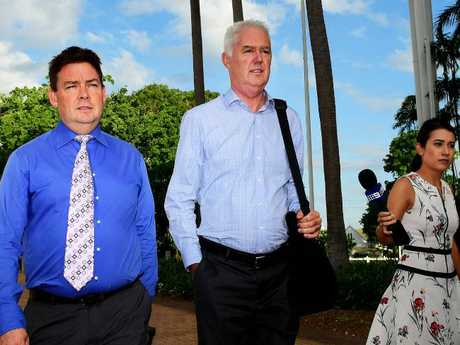 Ex NT Police Commissioner John McRoberts leaves the Darwin Supreme Court after being found guilty. Picture: Justin Kennedy