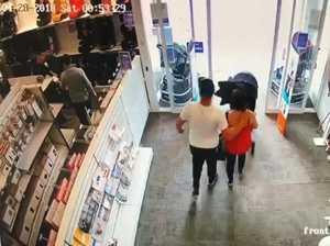 Mum hides goods in kid's pram