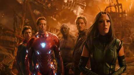 Tom Holland, Robert Downey Jr, Dave Bautista, Chris Pratt and Pom Klementieff in Avengers: Infinity War.