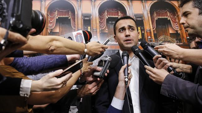 Five-Star Movement leader Luigi Di Maio was hoping to form a government, but stepped aside as worries about Italy's economy spread. Picture: Fabio Frustaci/ANSA via AP