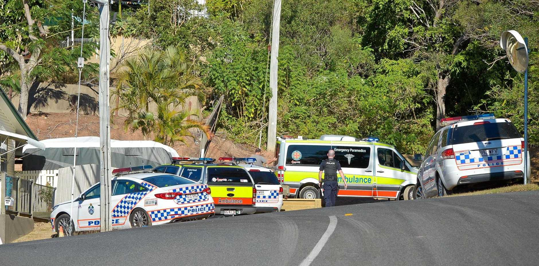 CRASH: Police and paramedics attend an incident on Oaka Street, South Gladstone.