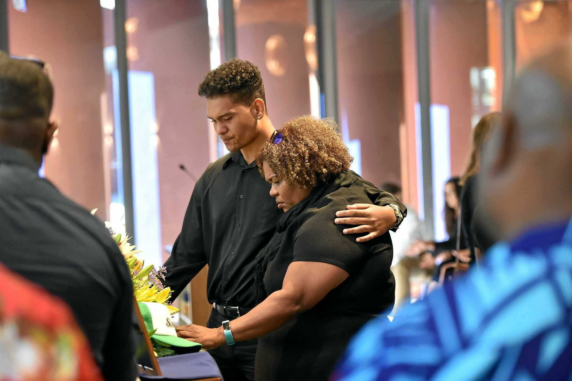 FINAL GOODBYE: Hundreds gathered at the Gregson and Weight chapel at Buderim on Saturday for the funeral of 19-year-old Malu James Nona.