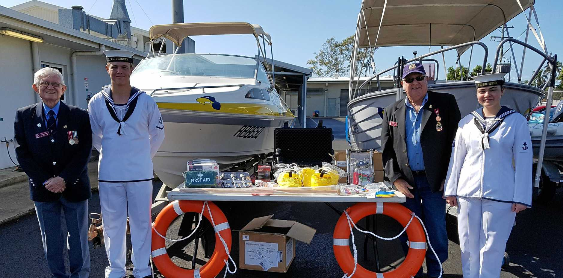 Boating accessories bought with grant money from Walkerston RSL sub branch. TS Pioneer Cadets CDTLS Adam Brazier and CDTLS Tyra Barry with Walkerston/Pleystowe RSL sub branch members Theo Morrow and President Noel Wales