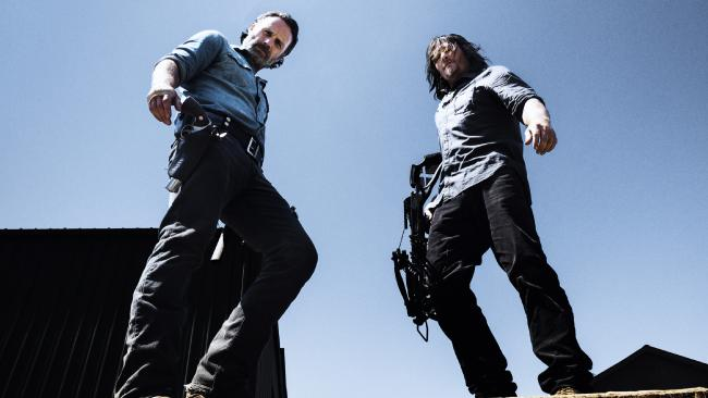Andrew Lincoln as Rick Grimes and Norman Reedus as Daryl Dixon in The Walking Dead. Sorry Norman, but your greasy hair just doesn't cut it. (Pic: Alan Clarke/AMC)