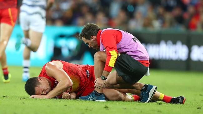 Steven May suffered an ankle injury in the last quarter. Picture: Getty