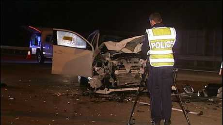 Police at the scene of the fatal crash overnight. Picture: Nine News/The Today Show/Twitter