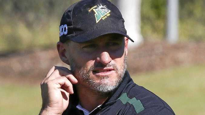 TOUGH DAY AT THE OFFICE: Coaches Ben and Shane Walker cut a frustrated figure on the touchline during the first half of the Ipswich Jets' 42-20 loss to Burleigh Bears on Saturday.