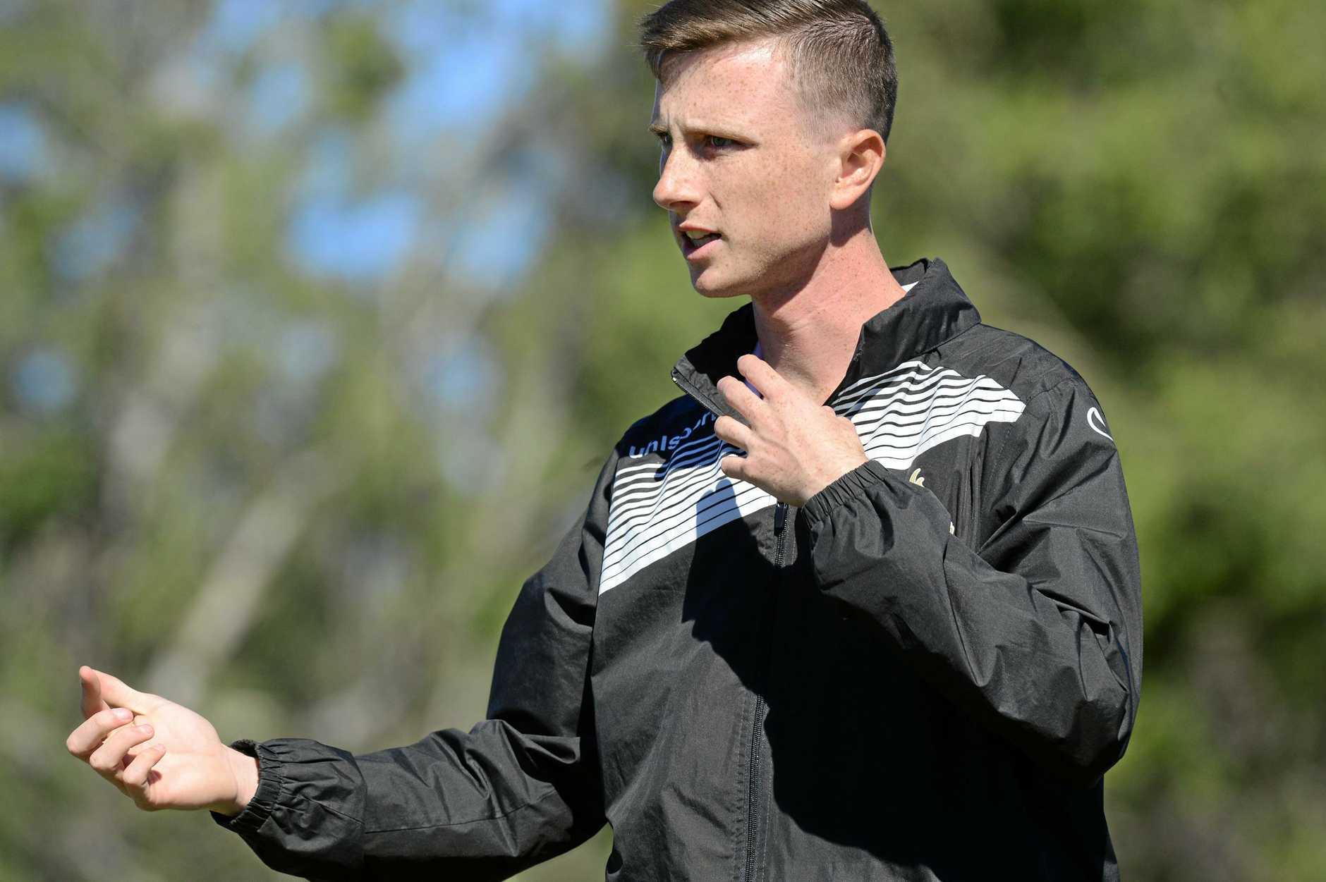 U18's soccer match between Western Pride Vs South West Queensland at Briggs Road Sporting Complex. Pride coach Jordan Manning.