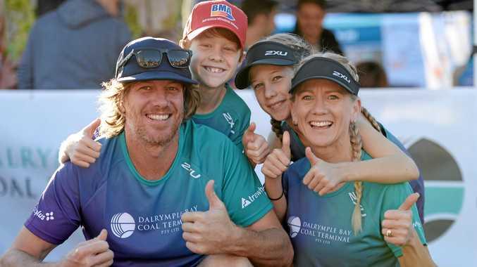 Mat, Taj, Zara and Deanne Roelandts of Eimeo enjoy a family day at the Mackay Marina Run on Sunday.