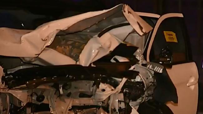 A woman died in a crash on the M1 at Pimpama in the early hours of Saturday. Picture: Nine News/Today Show/Twitter
