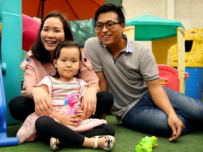 Annabelle Nguyen's father Henry and mother Sandy are begging the Australian government to help them fly their sick daughter home. Picture: Nathan Edwards