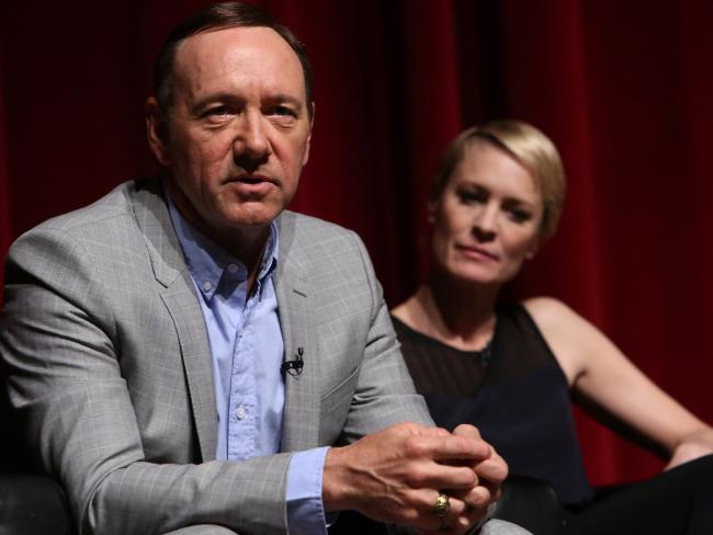Kevin Spacey and Robin Wright at a press function for the series in 2013, before the allegations surfaced. Picture: Jesse Grant/Getty Images for Netflix