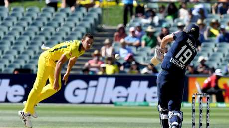 Stokes' injury will be welcome news to the depleted Australians, who are heading into the series without injured paceman Josh Hazlewood (pictured).