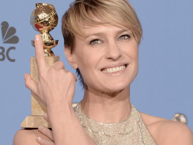 Robin Wright, winner of Best Actress in a Television Series — Drama for House of Cards. Picture: Kevin Winter/Getty Images
