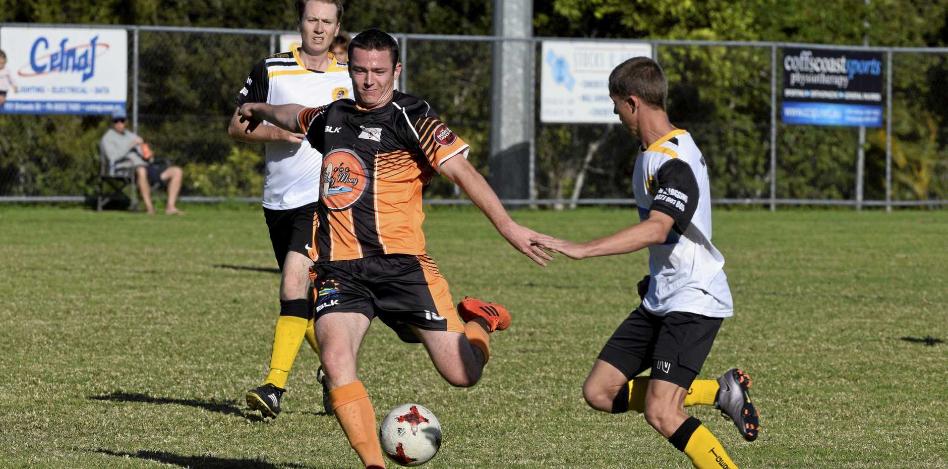 THREE POINTS ... JUST: The Coffs Coast Tigers edged out the Westlawn Tigers in the Men's Premier League match played at Polwarth Drive.