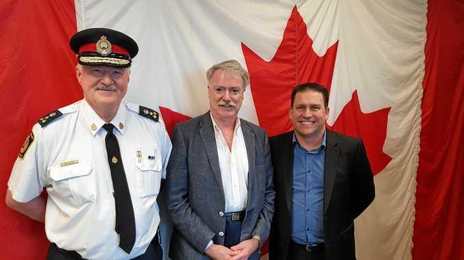 ALL SMILES: Gladstone Region Mayor Matt Burnett, right, pictured at the annual Bio International Convention with Mayor of Sarnia, Canada Mike Bradley.