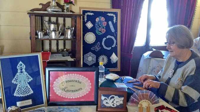 AN ART:  Cecily Black at work at a past display at the Royal Bulls Head Inn.