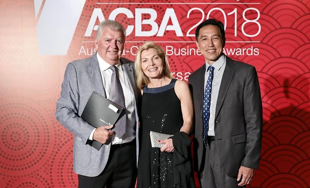 Costa Group General Manager Peter McPherson accepts the Business Excellence Award for Agriculture, Food & Beverage at the prestigious 25th Annual AustCham Westpac Australia-China Business Awards.