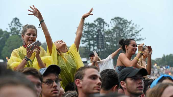 Audiences watch Angus and Julia Stone on the third day of Falls Festival in Byron Bay.