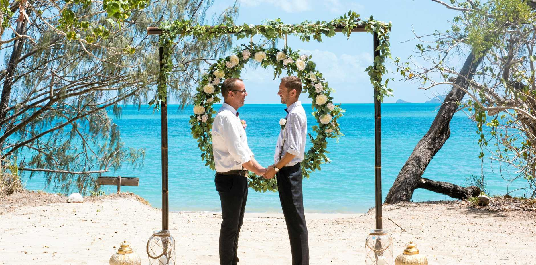 A couple getting married in the Whitsundays.