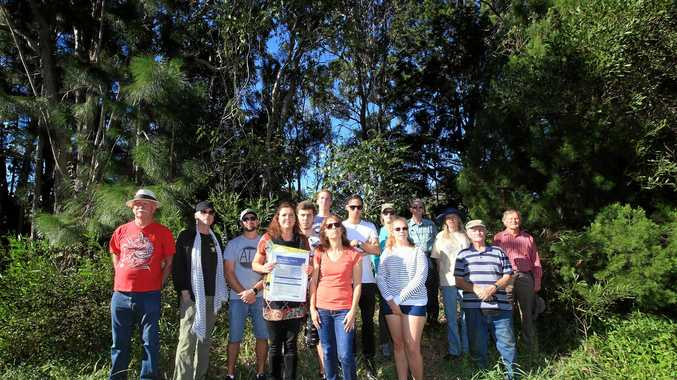 Team Koala members including Jenny Hayes (centre) oppose the campaign to have the new Tweed Valley Hospital at Kings Forest.