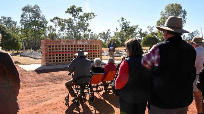 MEMORIAL: Mayor Tyson Golder opens the new Wallumbilla Wall of Memory.