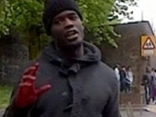Michael Adebolajo with blood on his hands after allegedly killing and mutilating Fusilier Lee Rigby on a London street.