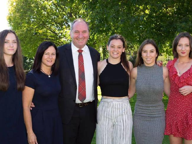 Natalie Joyce with former Deputy Prime Minister Barnaby Joyce and their daughters (L-R) Odette, Caroline, Julia, Bridgette Picture: Facebook