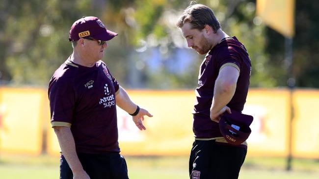 Kevin Walters speaks to Cameron Munster during a Maroons training session. Picture: Adam Head