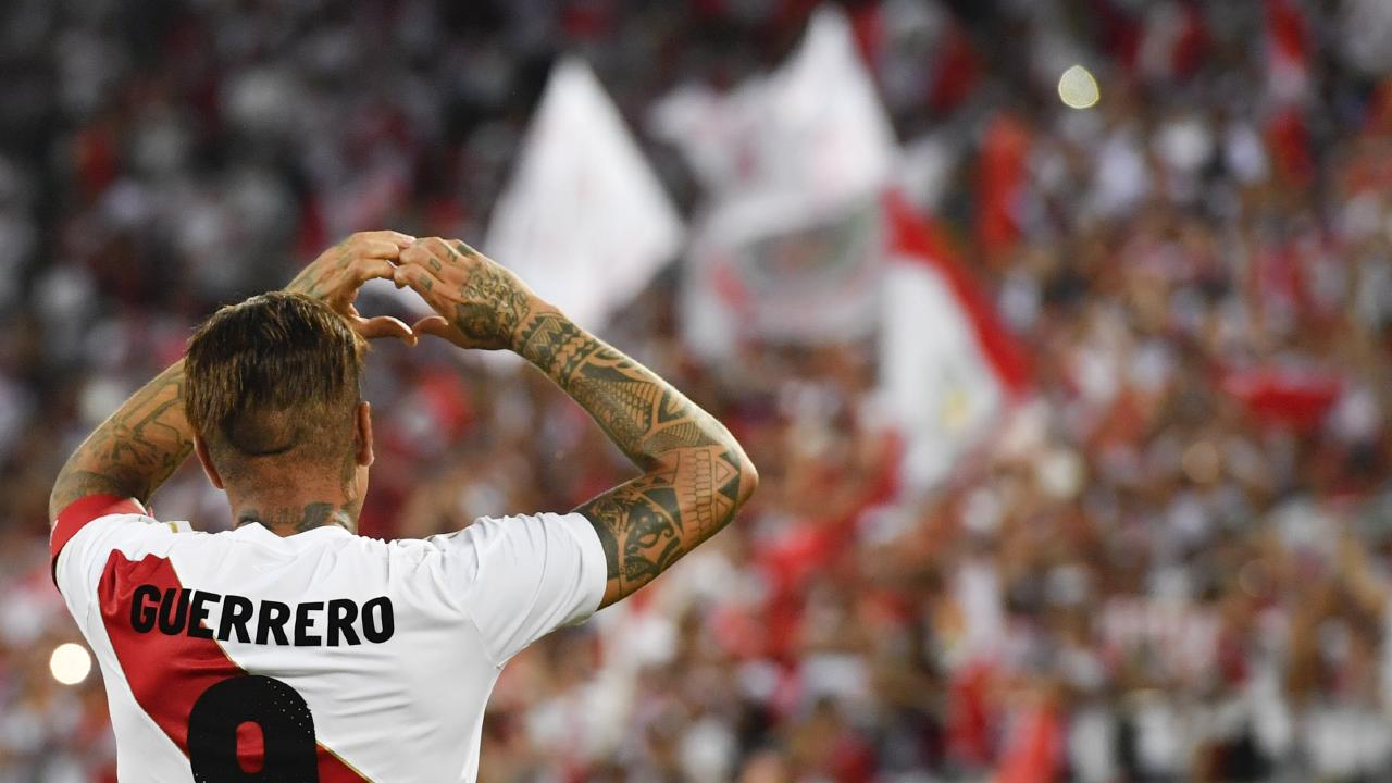 Peru's Paolo Guerrero celebrates after he scored