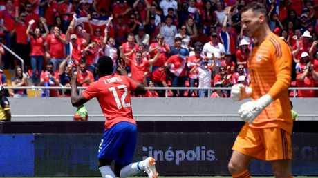 Costa Rica's Joel Campbell celebrates scoring against Northern Ireland