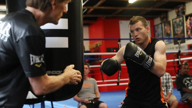 Jeff Horn hits the bag in Las Vegas. Picture: Peter Wallis