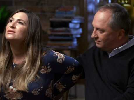 Barnaby Joyce's 'grey area' paternity comment is still a sore point for partner Vikki Campion. Picture: Channel 7