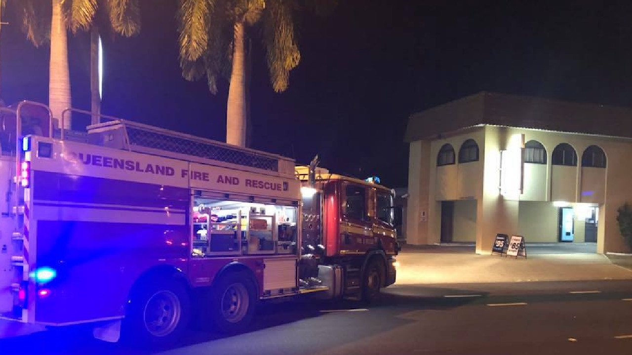 A 42-year-old man was taken to Townsville Hospital after being pulled out of the burning motel room.