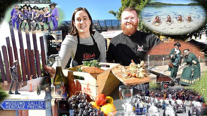 Relish Festival - Amber Tucker (Fraser Coast Tourism & Events) and chef Gavan Chin (The Federal Hotel) with produce and food to highlight this years Relish Festival.