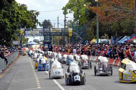 Vehicles on the grid at the start of this year's RACQ Tech Challenge.