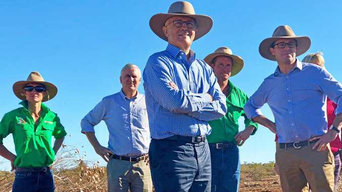 DROUGHT RELIEF: Jacqui Tickell, Deputy PM Michael McCormack, Prime Minister Malcolm Turnbull, Cameron Tickell and Maranoa MP David Littleproud in Charleville last week.