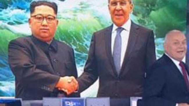 Russian TV broadcast this image of Kim Jong-un smiling during his meeting with Russian Foreign Minister Sergey Lavrov. Picture: Supplied