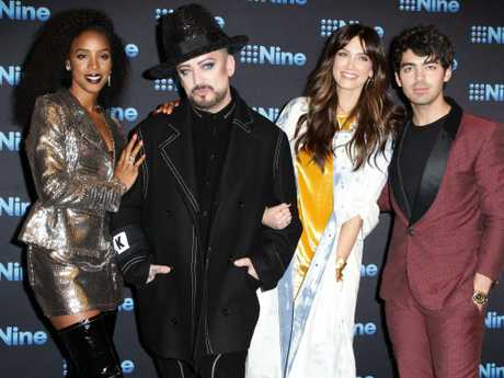 Kelly Rowland, Boy George, Delta Goodrem and Joe Jonas. Picture: Christian Gilles