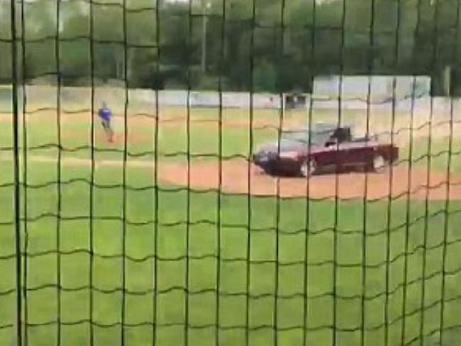 Carol Sharrow driving her car through the Little League baseball diamond last Friday, killing Douglas Parkhurst.